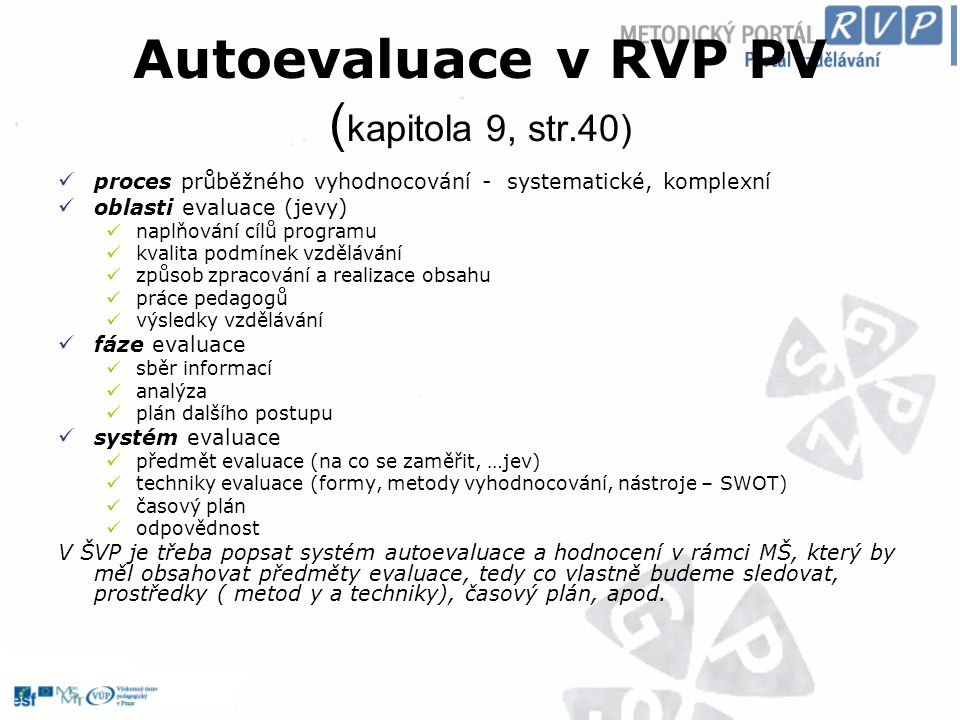Autoevaluace v RVP PV (kapitola 9, str.40)