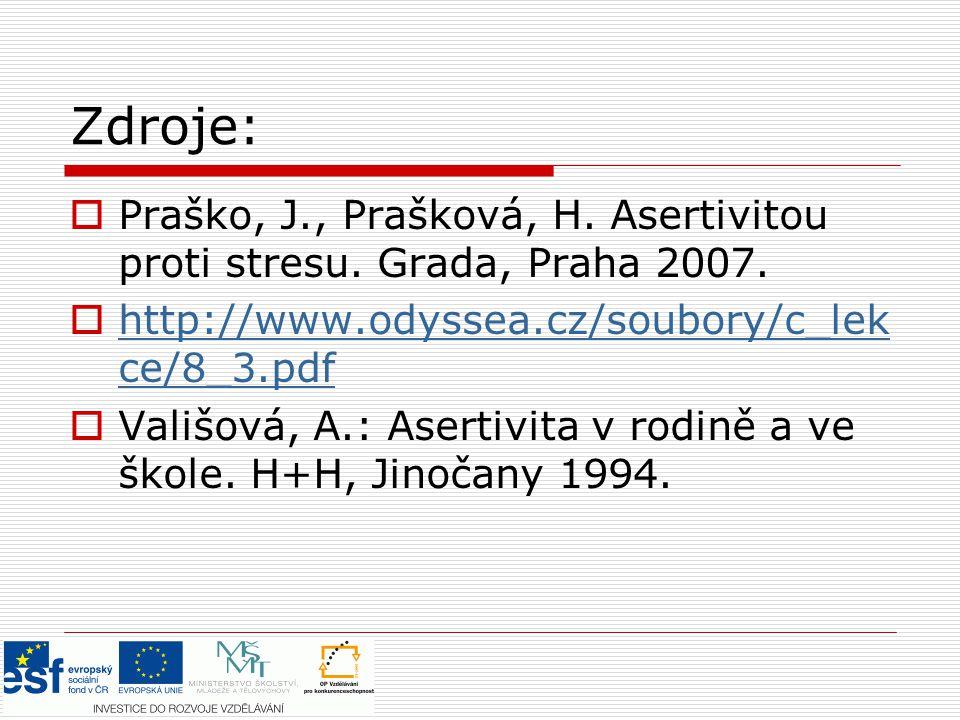 Zdroje: Praško, J., Prašková, H. Asertivitou proti stresu. Grada, Praha 2007. http://www.odyssea.cz/soubory/c_lekce/8_3.pdf.