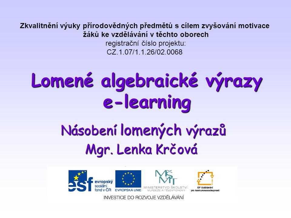 Lomené algebraické výrazy e-learning