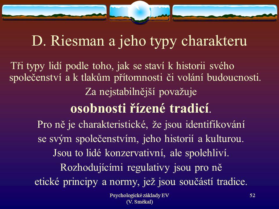 D. Riesman a jeho typy charakteru