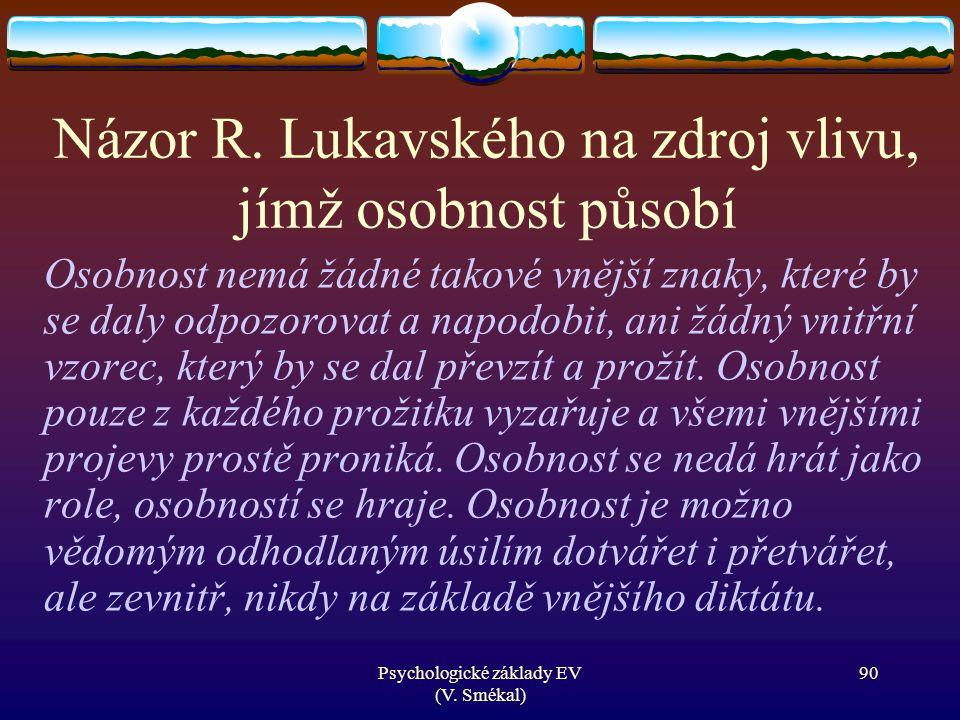 Názor R. Lukavského na zdroj vlivu, jímž osobnost působí