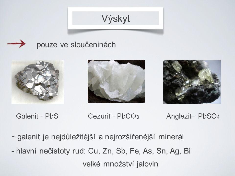 - galenit je nejdůležitější a nejrozšířenější minerál