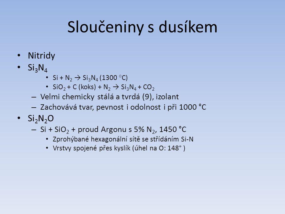 Sloučeniny s dusíkem Nitridy Si3N4 Si2N2O
