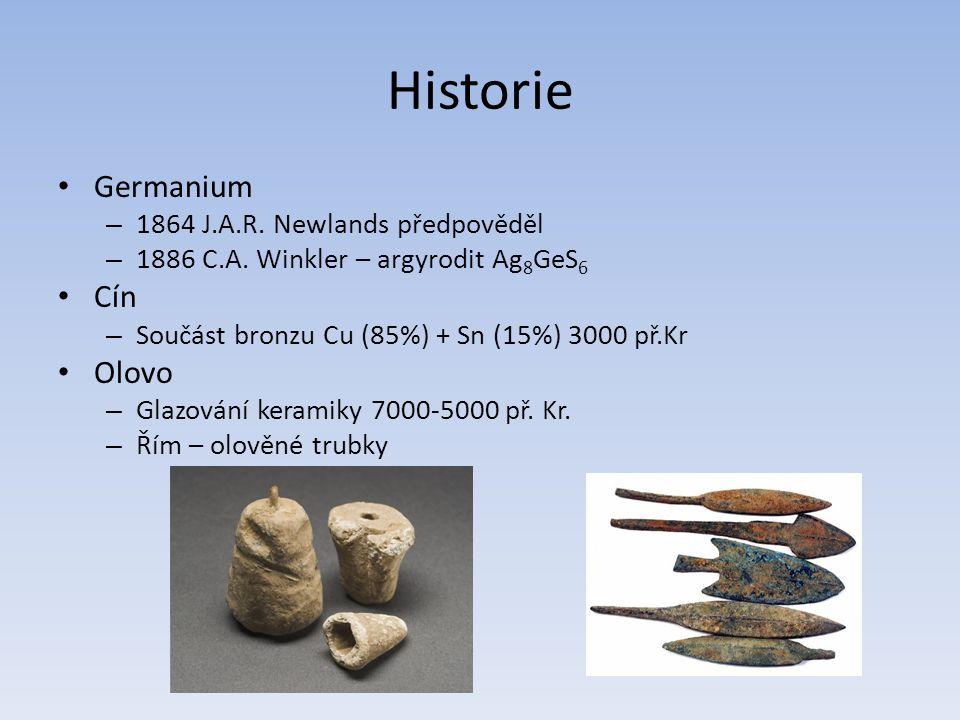 Historie Germanium Cín Olovo 1864 J.A.R. Newlands předpověděl