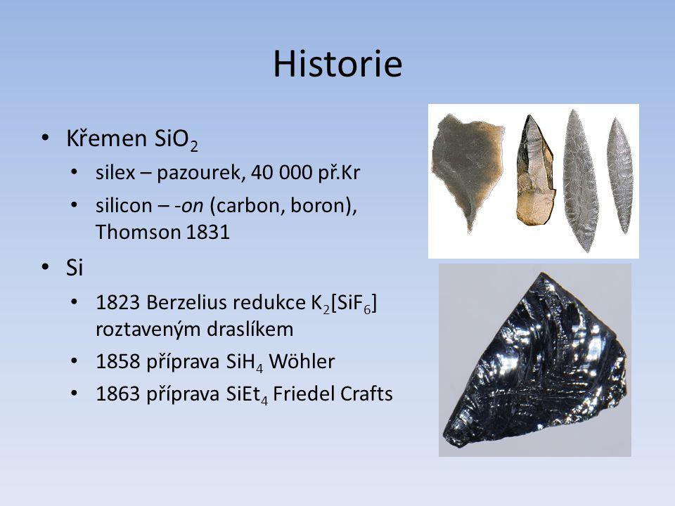 Historie Křemen SiO2 Si silex – pazourek, 40 000 př.Kr