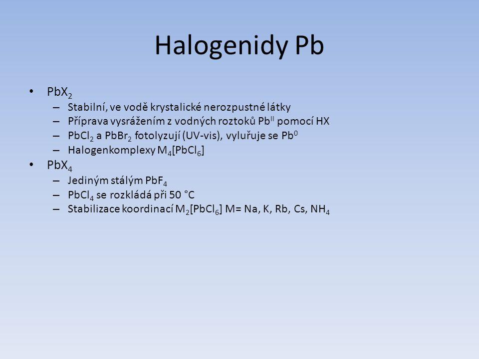 Halogenidy Pb PbX2. Stabilní, ve vodě krystalické nerozpustné látky. Příprava vysrážením z vodných roztoků PbII pomocí HX.