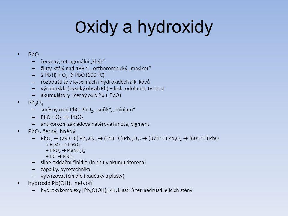 Oxidy a hydroxidy PbO Pb3O4 PbO2 černý, hnědý hydroxid Pb(OH)2 netvoří