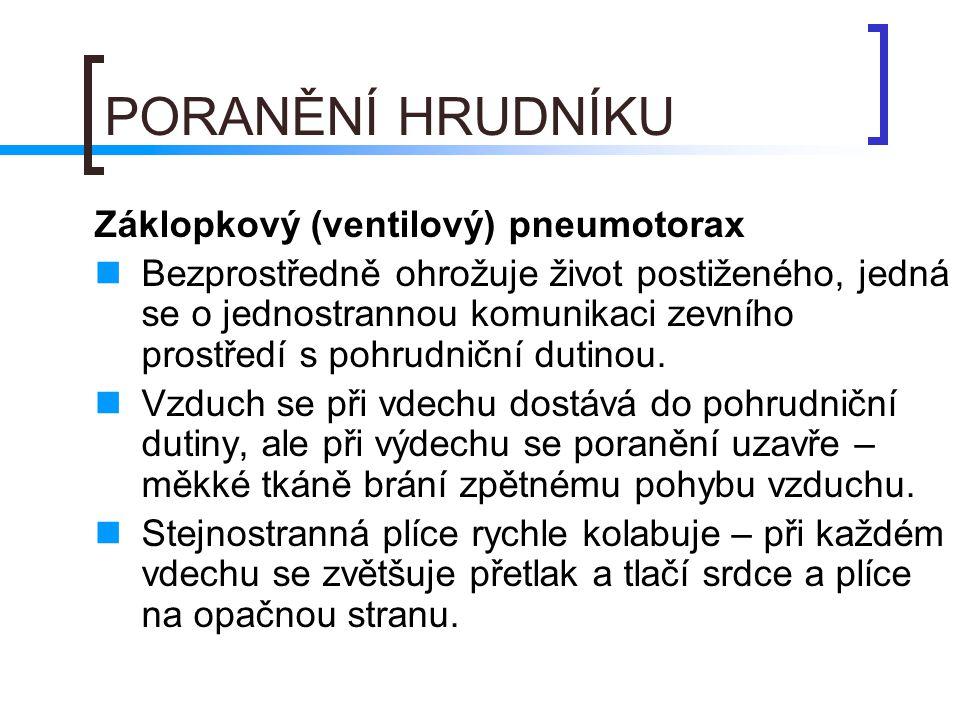 PORANĚNÍ HRUDNÍKU Záklopkový (ventilový) pneumotorax