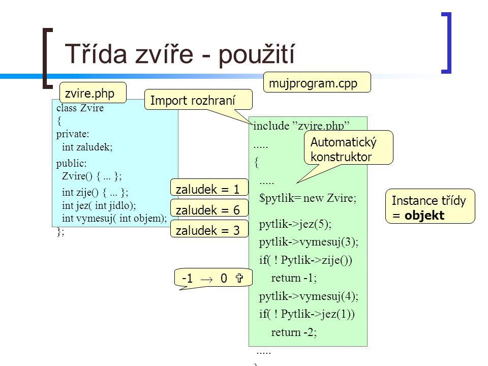 Třída zvíře - použití mujprogram.cpp zvire.php Import rozhraní