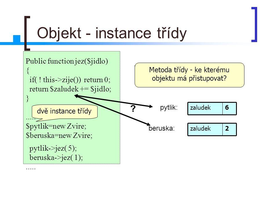 Objekt - instance třídy