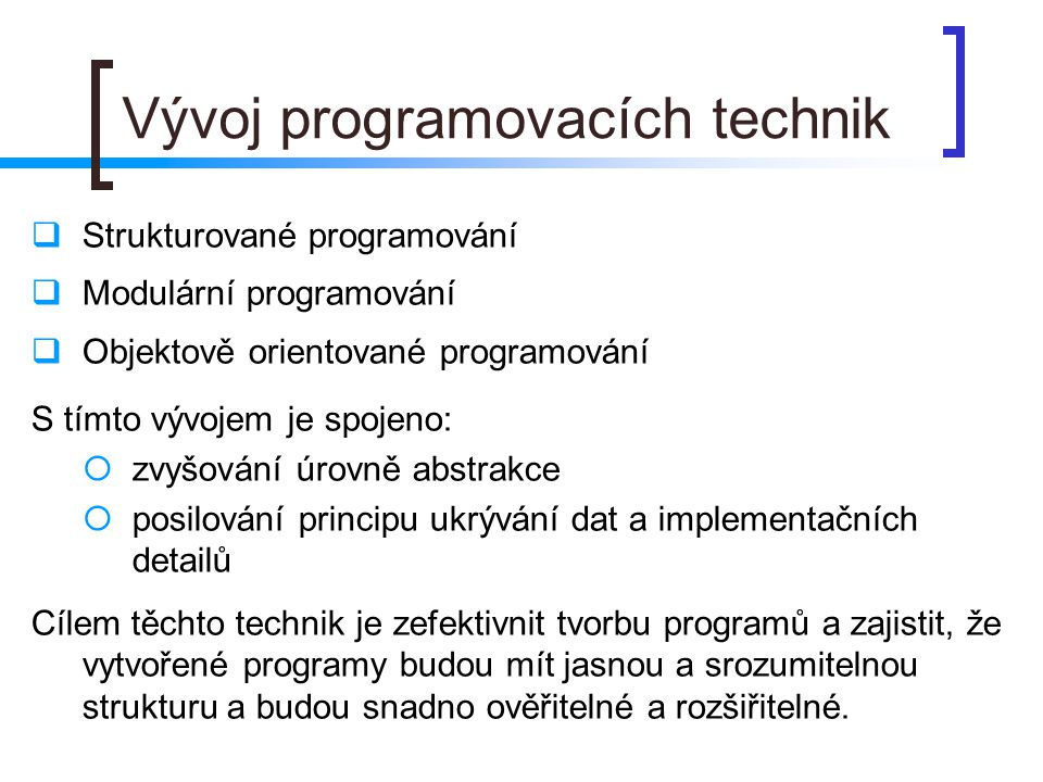 Vývoj programovacích technik