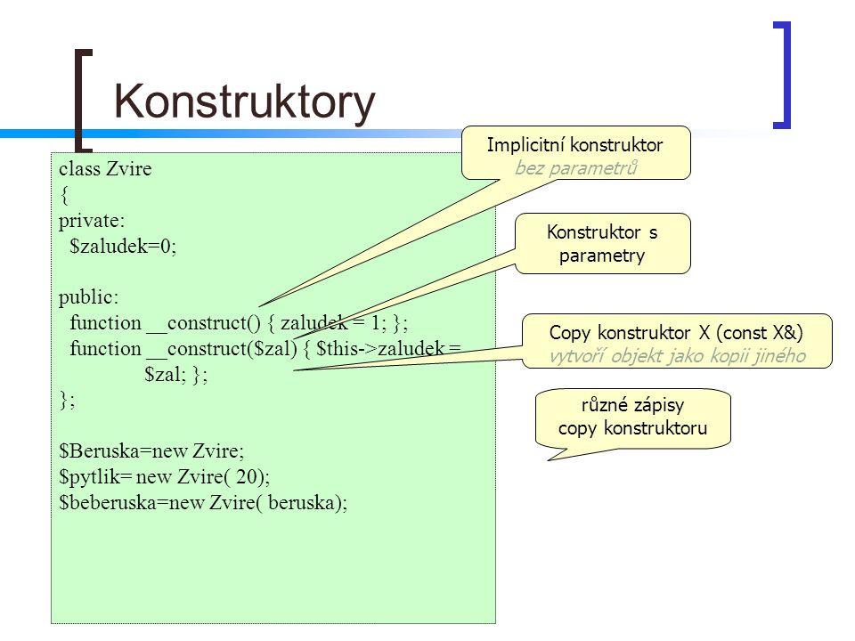 Konstruktory class Zvire { private: $zaludek=0; public:
