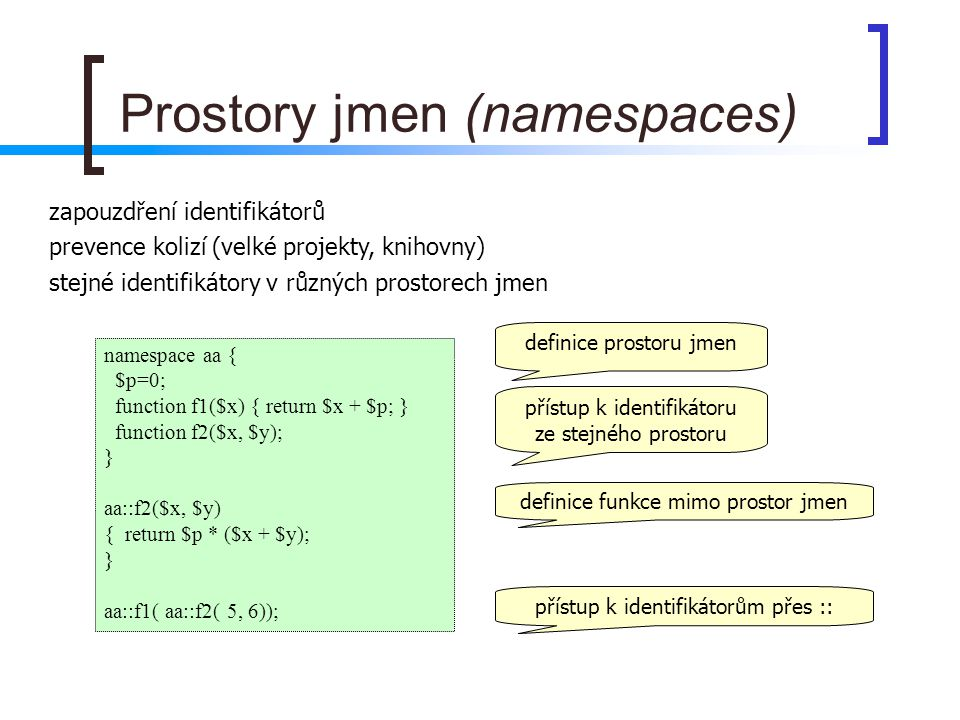 Prostory jmen (namespaces)
