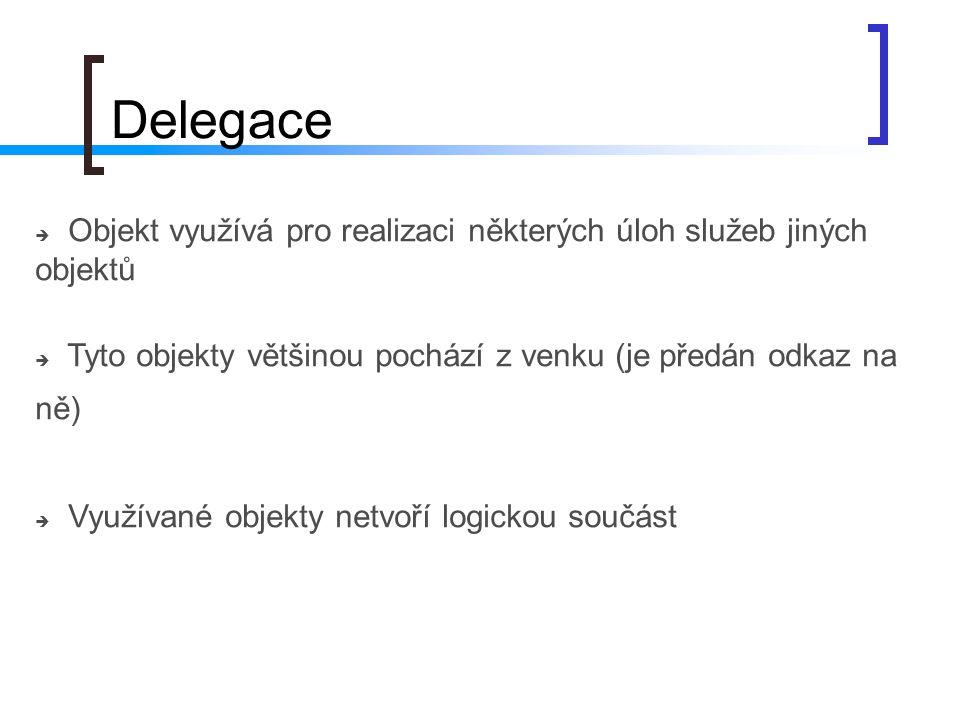 Delegace Objekt využívá pro realizaci některých úloh služeb jiných objektů. Tyto objekty většinou pochází z venku (je předán odkaz na ně)