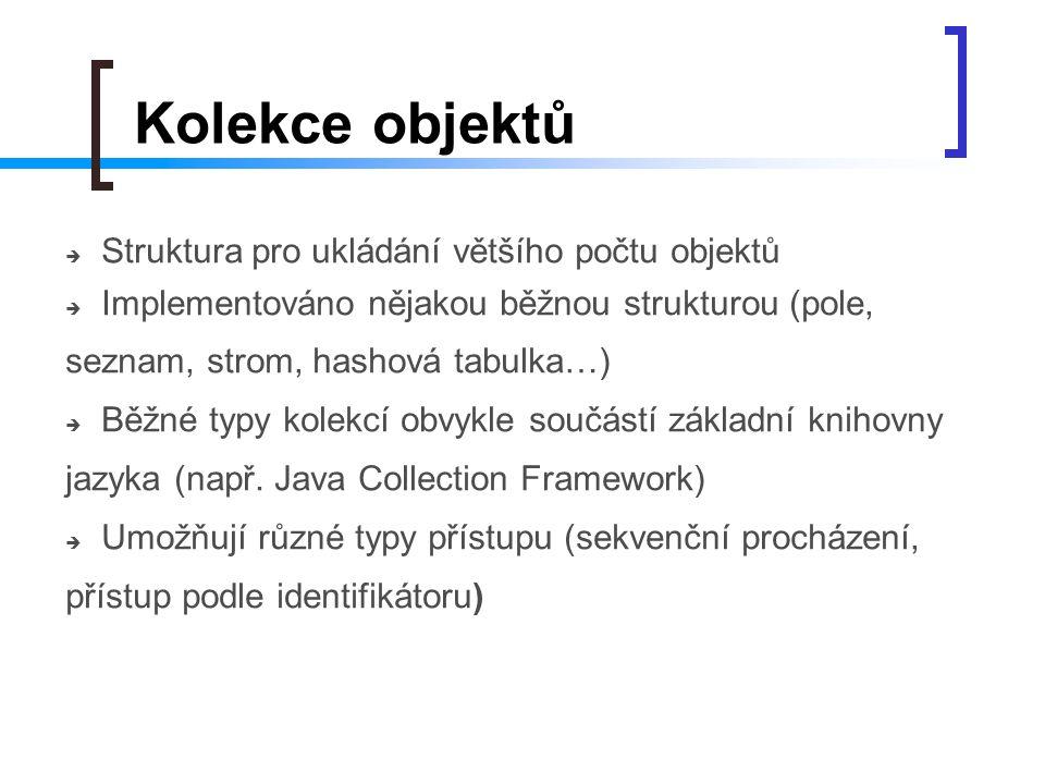 Kolekce objektů Struktura pro ukládání většího počtu objektů
