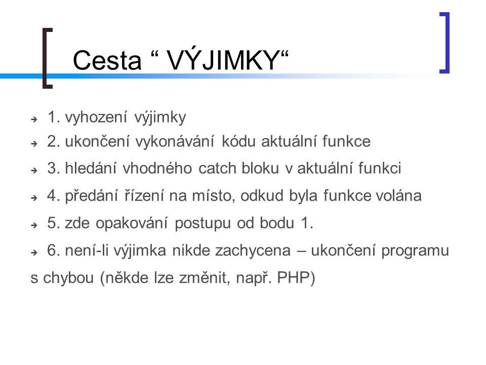 """""""Cesta VÝJIMKY 1. vyhození výjimky"""