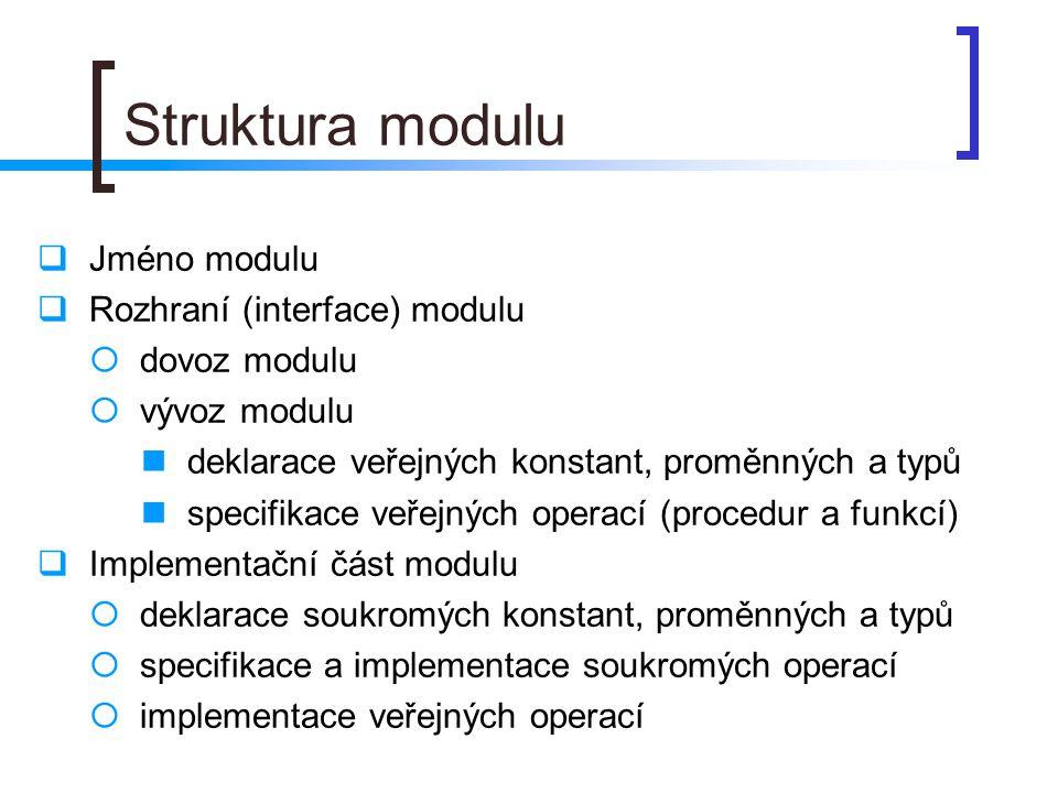 Struktura modulu Jméno modulu Rozhraní (interface) modulu dovoz modulu