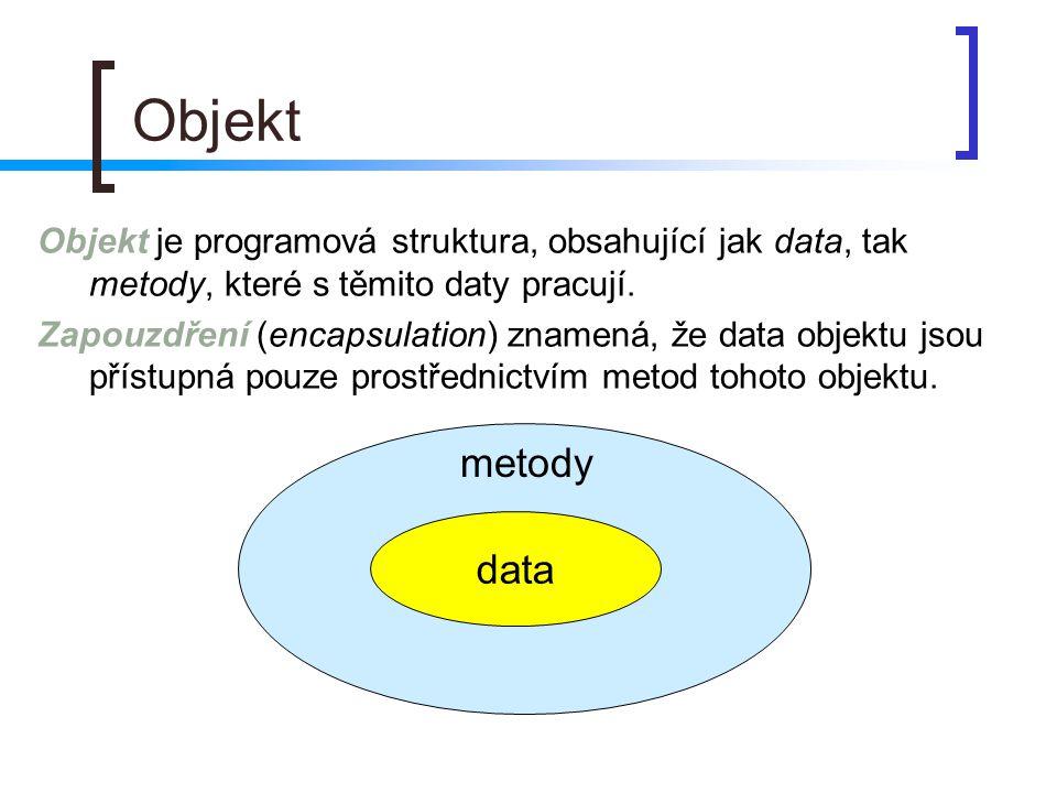 Objekt Objekt je programová struktura, obsahující jak data, tak metody, které s těmito daty pracují.