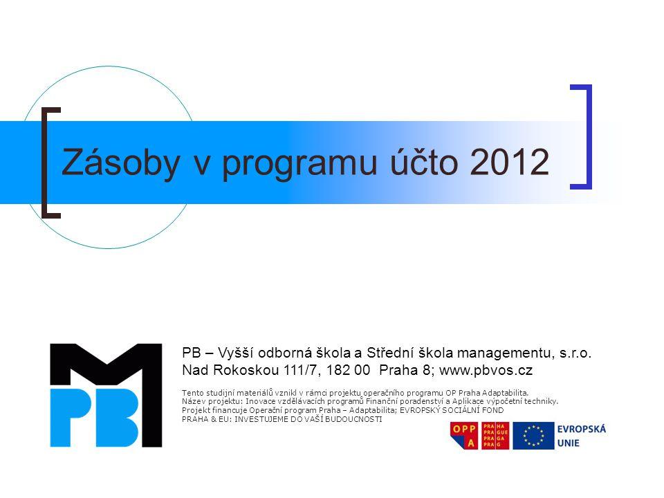 Zásoby v programu účto 2012