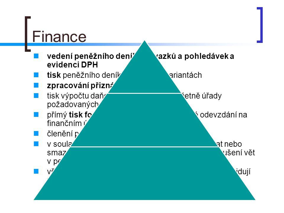 Finance vedení peněžního deníku, závazků a pohledávek a evidenci DPH