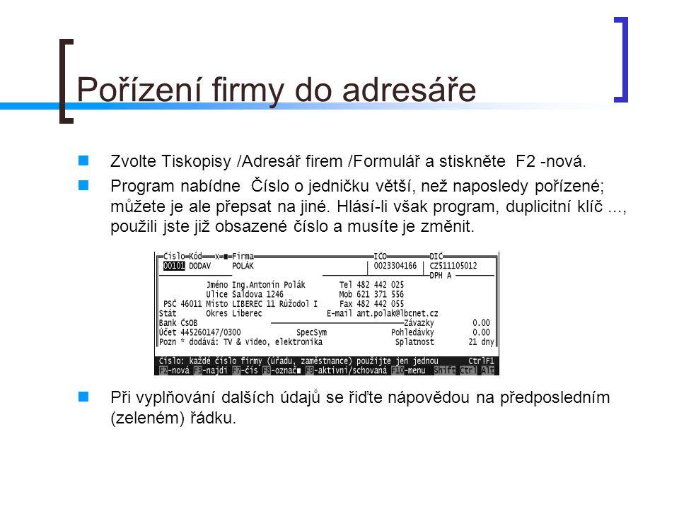Pořízení firmy do adresáře
