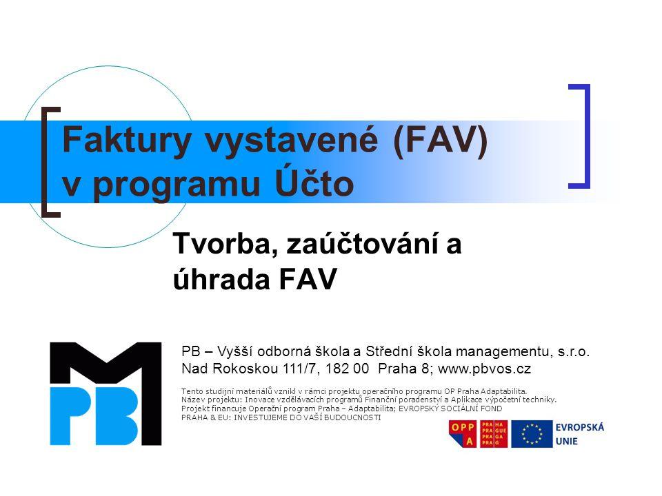 Faktury vystavené (FAV) v programu Účto