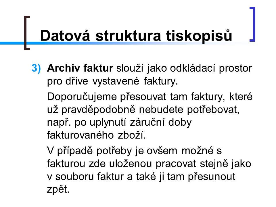 Datová struktura tiskopisů
