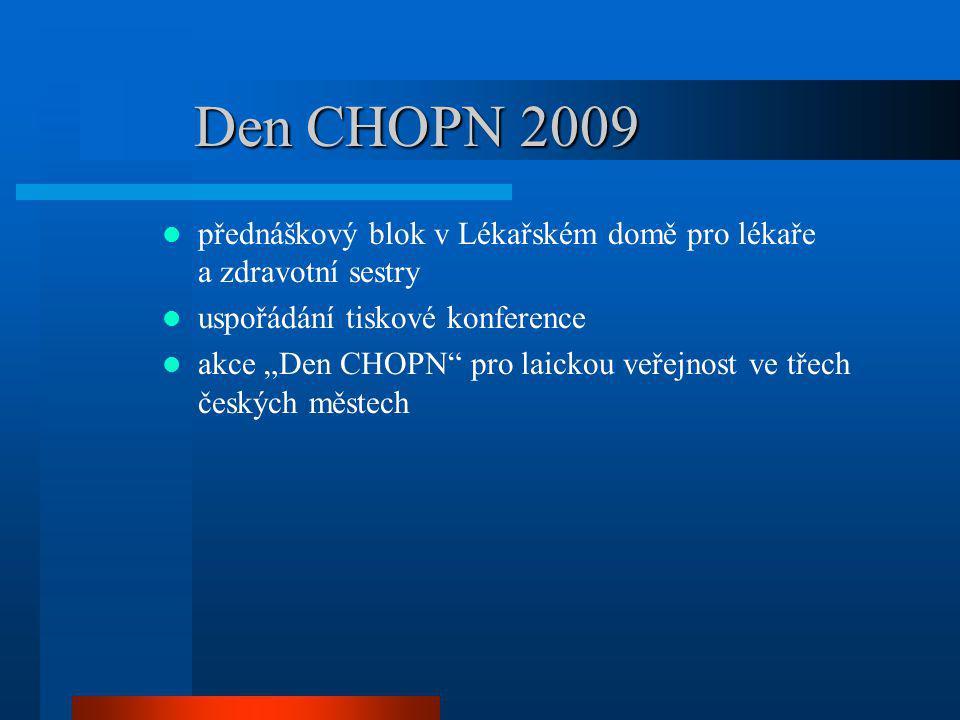 Den CHOPN 2009 přednáškový blok v Lékařském domě pro lékaře a zdravotní sestry. uspořádání tiskové konference.