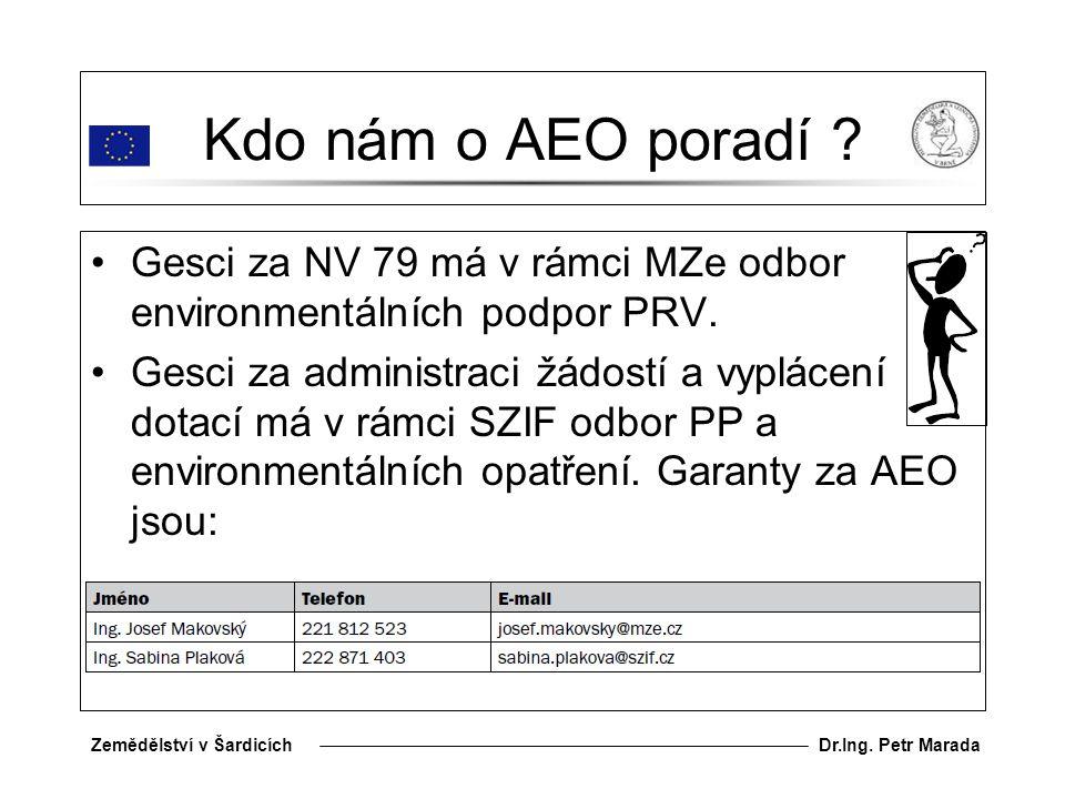 Kdo nám o AEO poradí Gesci za NV 79 má v rámci MZe odbor environmentálních podpor PRV.
