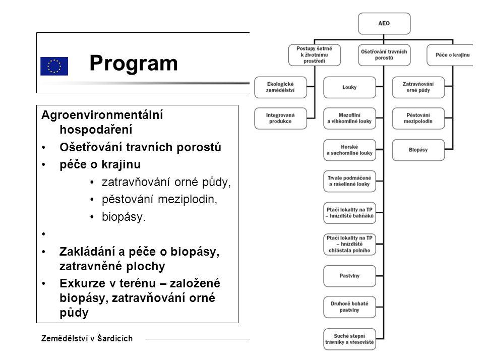 Program Agroenvironmentální hospodaření Ošetřování travních porostů