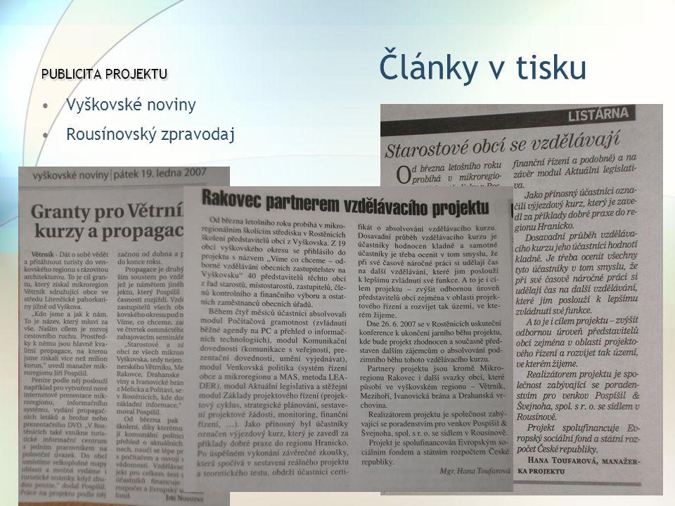 PUBLICITA PROJEKTU Články v tisku