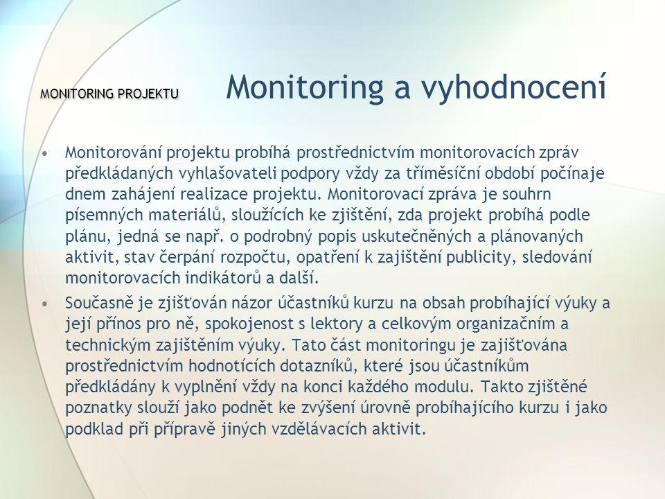 MONITORING PROJEKTU Monitoring a vyhodnocení