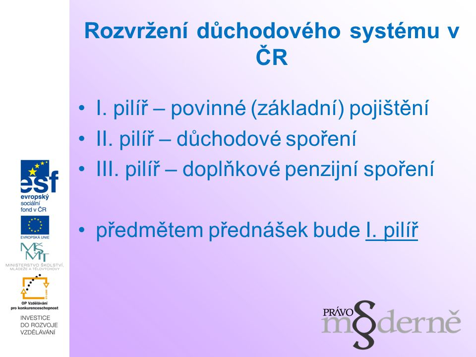 Rozvržení důchodového systému v ČR