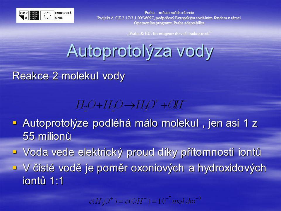 Autoprotolýza vody Reakce 2 molekul vody