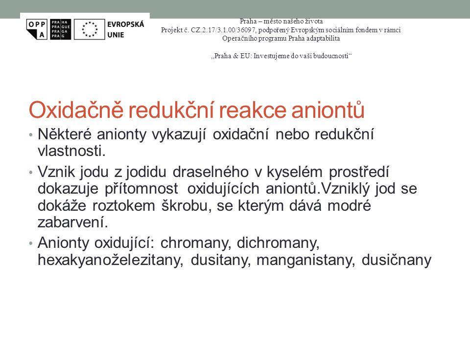 Oxidačně redukční reakce aniontů
