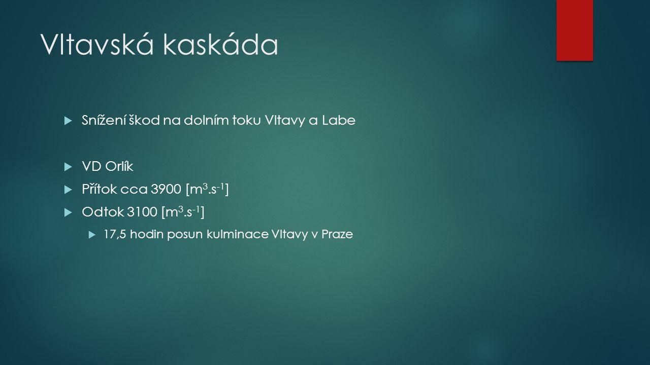 Vltavská kaskáda Snížení škod na dolním toku Vltavy a Labe VD Orlík