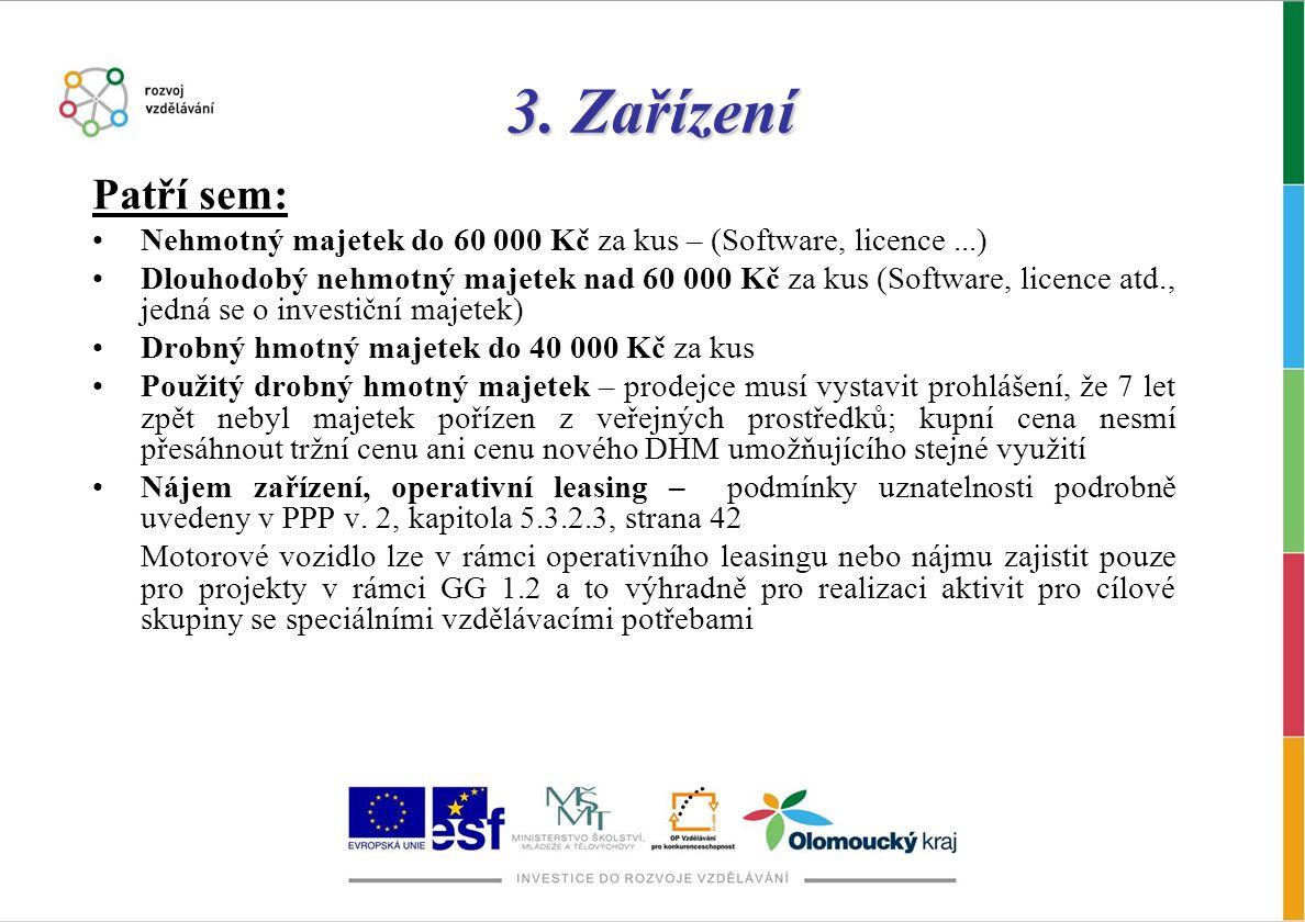 3. Zařízení Patří sem: Nehmotný majetek do 60 000 Kč za kus – (Software, licence ...)