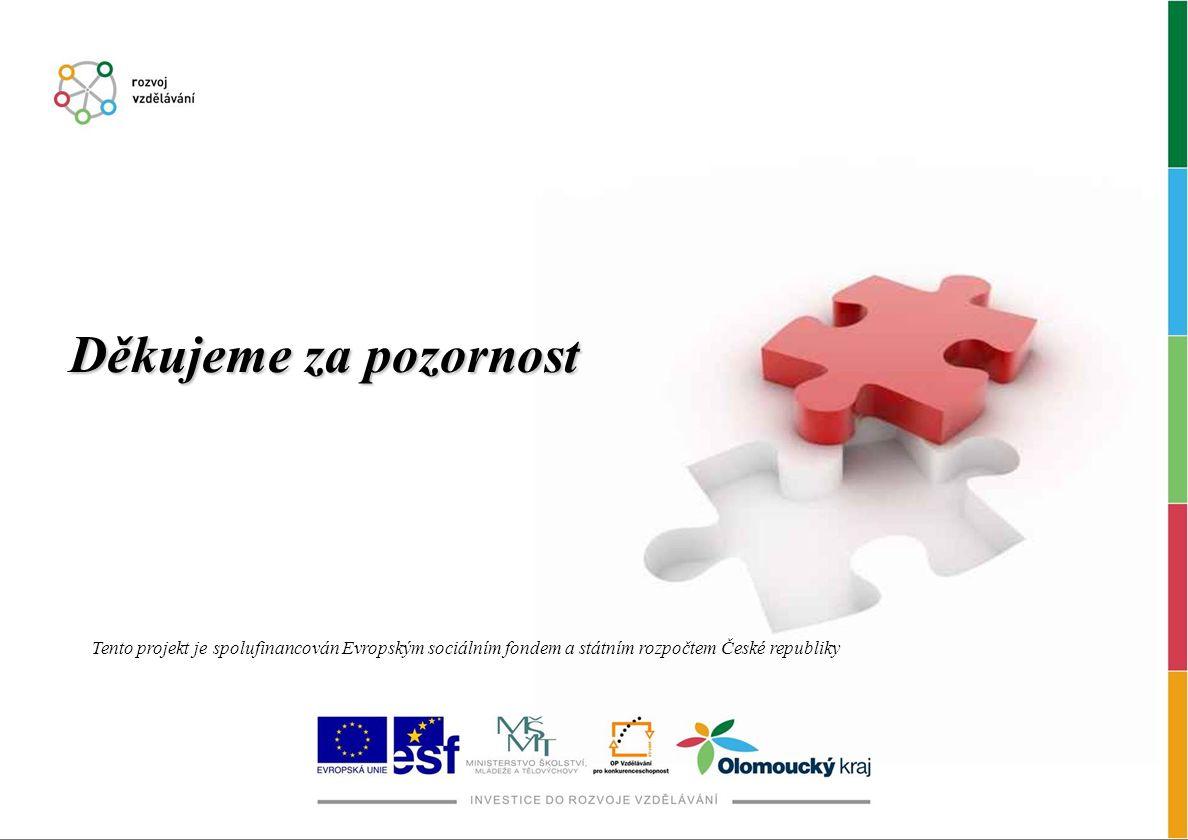 Děkujeme za pozornost Tento projekt je spolufinancován Evropským sociálním fondem a státním rozpočtem České republiky.