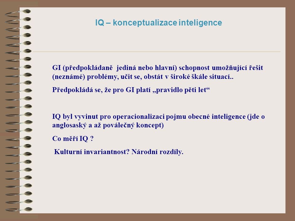 IQ – konceptualizace inteligence