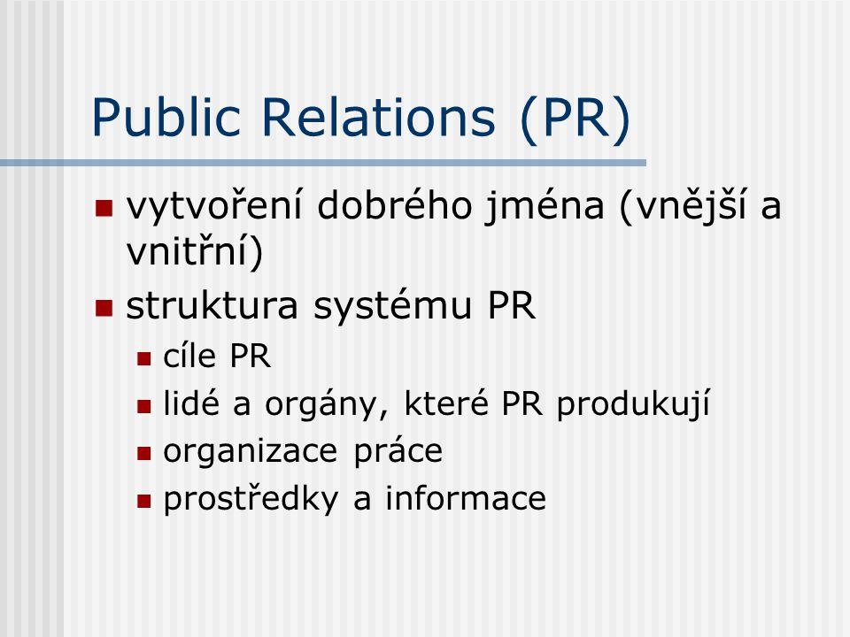 Public Relations (PR) vytvoření dobrého jména (vnější a vnitřní)