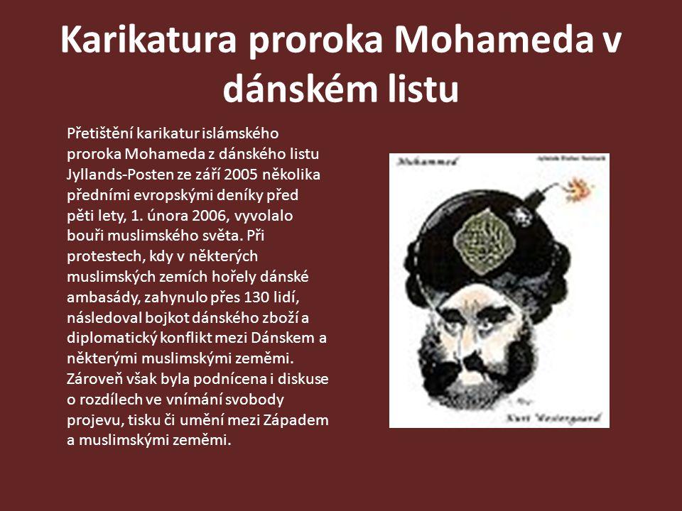 Karikatura proroka Mohameda v dánském listu