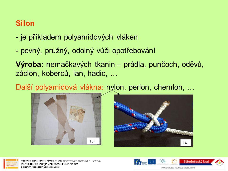 je příkladem polyamidových vláken