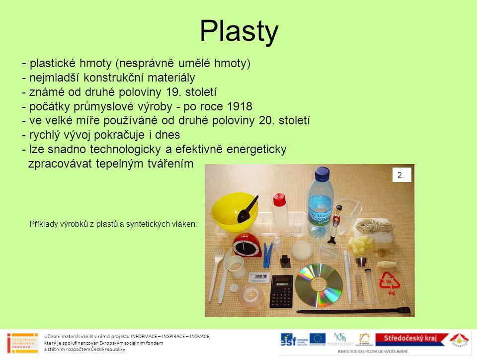 Plasty - plastické hmoty (nesprávně umělé hmoty)