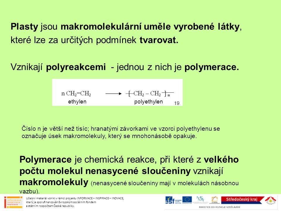Plasty jsou makromolekulární uměle vyrobené látky,