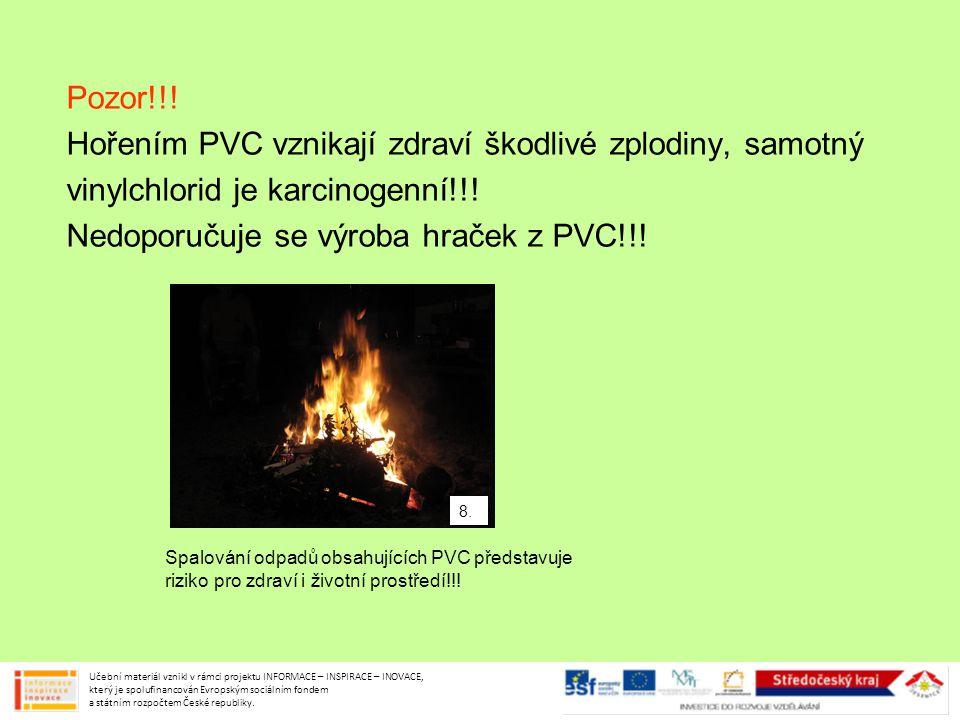 Hořením PVC vznikají zdraví škodlivé zplodiny, samotný