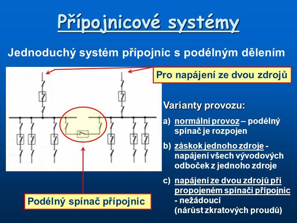 Přípojnicové systémy Jednoduchý systém přípojnic s podélným dělením