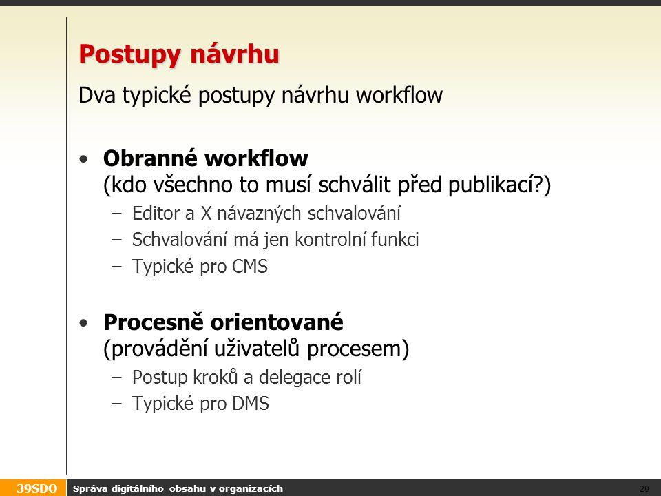 Postupy návrhu Dva typické postupy návrhu workflow