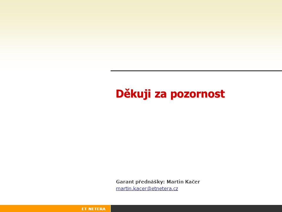 Garant přednášky: Martin Kačer martin.kacer@etnetera.cz