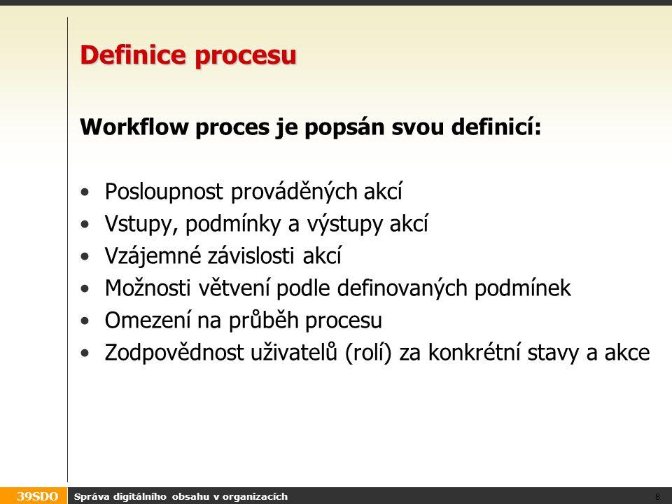 Definice procesu Workflow proces je popsán svou definicí: