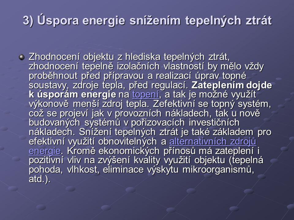 3) Úspora energie snížením tepelných ztrát